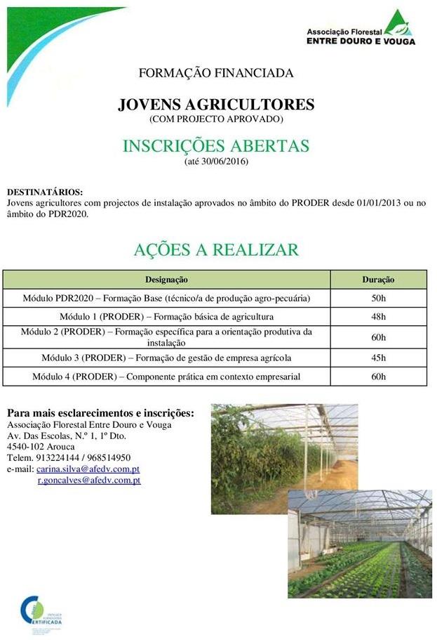 Formação financiada para Jovens Agricultores (PRODER e PDR2020) em Arouca